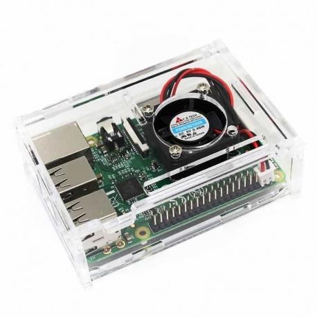 Raspberry Pi 3 Plexiglass Case with Cooling fan - Devobox