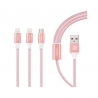 Recci 3 in 1 Delicate USB Data Cable 1.2m Pink