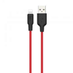 Hoco X21 Plus Silicone Lightning Cable 1m Black-Red